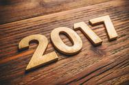 Wooden number 2017 Stock Photos