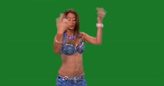 Beautiful belly dancer dancing ethnic dances against green screen.Blue dress Stock Footage