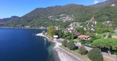 Como Lake - Aerial view - Village over the lake Stock Footage