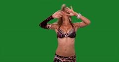 Beautiful belly dancer dancing ethnic dances against green screen. Burgundi Stock Footage