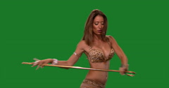 Beautiful belly dancer dancing ethnic dances against green screen.Mottle dress Stock Footage