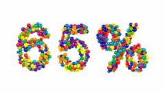 65 percent symbol with dynamic vivid colored balls Stock Footage