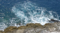 Waves crashing on the rocks of the 5 lands, Liguria, Italy. Stock Footage