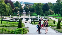 Fountain on garden facade of Sanssouci in Potsdam Stock Footage