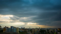 Storm Clouds Gathering Over City - Timelapse Stock Footage