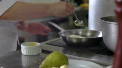 Close-up of chef hands cooking and preparing Asian food and sushi in restaurant Stock Footage