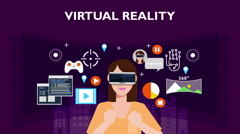 Concept of 'VIRTUAL REALITY' woman illustration, vector image. Stock Footage