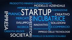 Startup, incubator word tag cloud - blue, Italian variant Stock Footage