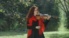 Violinist in the autumn forest. Girl playing on the violin in nature Stock Footage