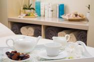 English tea set with dried fruit Stock Photos