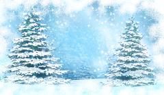 Christmas background with snowy fir trees. Stock Illustration