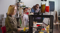 Female Engineer Using FDM 3d Printer Stock Footage