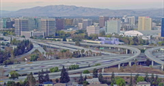 Aerial of timelapse congested freeway traffic at rush hour in silicon valley Stock Footage