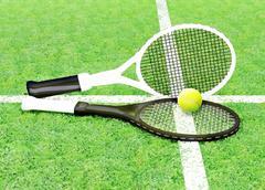 Tennis; rackets; sphere; green; grass. Stock Illustration