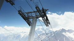Move by cable car in the mountains Stock Footage