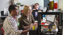 Engineers Working with FDM 3d Printer Stock Footage
