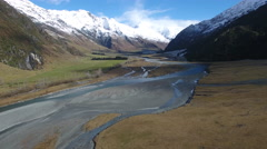 Aerial shot Matukituki River valley, Mount Aspiring National park, New Zealand Stock Footage