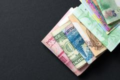 Foreign currency banknotes Stock Photos
