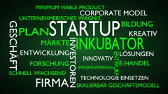 Startup, incubator word tag cloud - green, German variant Stock Footage