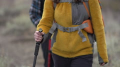 Close-up of a man and woman holding hiking poles. Stock Footage