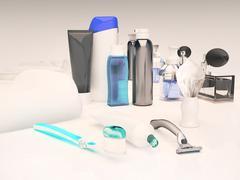 Toothpaste, brush, soap, balm, razor, shaving brush, towel, shampoo,perfume, Stock Illustration