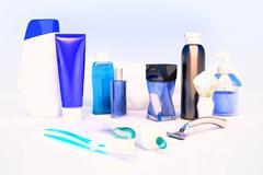 Toothpaste, brush, soap, balm, razor, shaving brush, towel, shampoo,perfume. Stock Illustration
