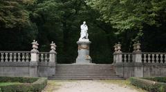 Statue of Friedrich von Schiller at the Maximiliansplatz park in Munich, Germany Stock Footage