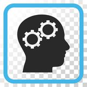 Brain Gears Vector Icon In a Frame Stock Illustration