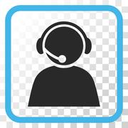 Call Center Operator Vector Icon In a Frame Stock Illustration