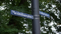 Maximilianplatz signpost in Munich, Germany Stock Footage