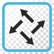 Centrifugal Arrows Vector Icon In a Frame Stock Illustration