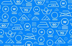 Pattern created from laundry washing symbols on a blue background Stock Illustration