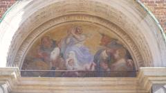 Italy-Milan-cenacolo-facade-leonardo-da-vinci-Santa-Maria-delle-Grazie-door Stock Footage