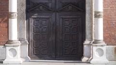 Italy-Milan-cenacolo-facade-leonardo-da-vinci-Santa-Maria-delle-Grazie-fresco Stock Footage