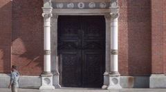 Italy-Milan-Santa-Maria-delle-Grazie-Renaissance-church-door-windows-cenacolo Stock Footage