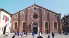 Italy-Milan-Santa-Maria-delle-Grazie-Renaissance-church-facade Stock Footage