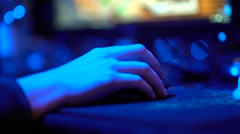 Hand on Computer mouse playing Computer games Stock Footage