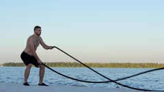 Functional training with rope Stock Footage