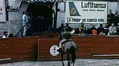 Ecuador 1970: horse rider greets spectators before bullfighting Stock Footage