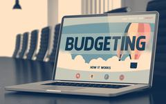 Budgeting on Laptop in Conference Hall. 3D Stock Illustration