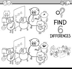 Differences activity coloring page Stock Illustration