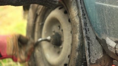 Replacement car wheels Stock Footage