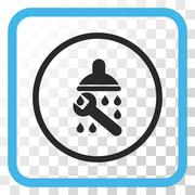 Shower Plumbing Vector Icon In a Frame Stock Illustration