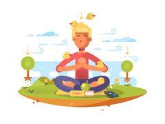 Man meditating in park Stock Illustration