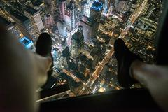 Aerial view from helicopter of Midtown, New York, USA Stock Photos