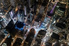 Aerial view from helicopter of Midtown, Times Square, New York, USA Stock Photos