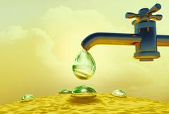Water drop dripping out of water-supply faucet. Stock Illustration