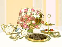 Tea and bilberry pie. Stock Illustration