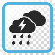 Thunderstorm Clouds Vector Icon In a Frame Stock Illustration