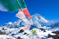Prayer flags, Mount Everest Trek, Nepal Stock Photos